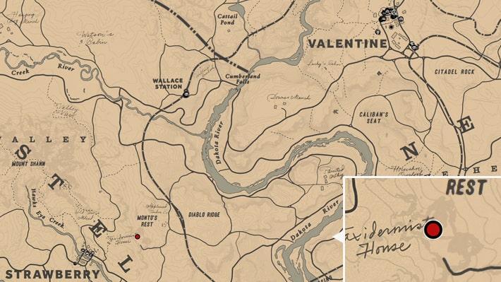 マイカのキャンプ跡の場所のマップ
