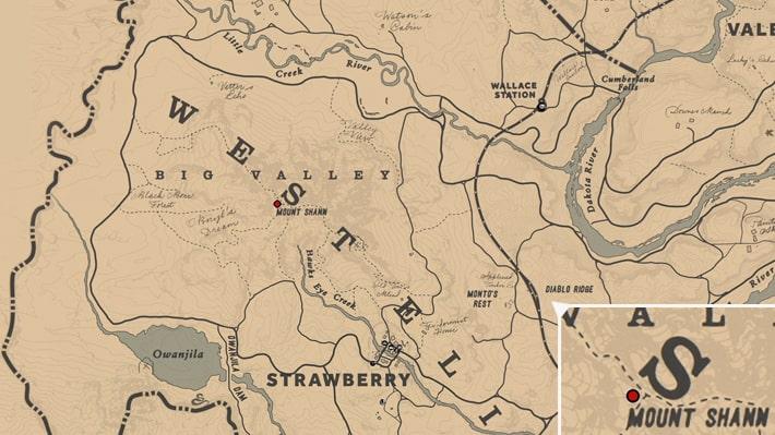 シャン山にある日時計の場所のマップ