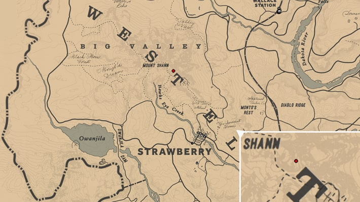 シャン山にある矢印の岩絵の場所のマップ