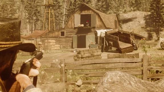 納屋にいる狙撃手にヘッドショットを狙う画像