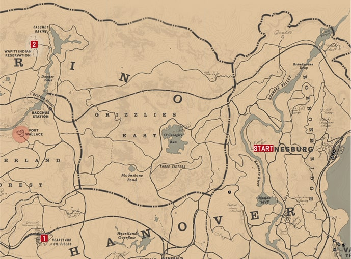 レッドデッドリデンプション2の最後の息子のミッションの攻略マップ
