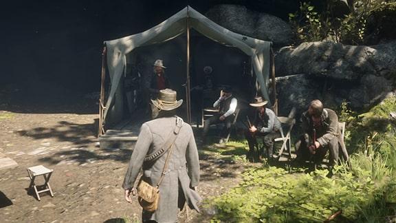 ミッションを開始できるダッチがいるビーバーホローのキャンプ場
