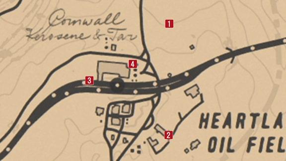 コーンウォール灯油タール精製所の襲撃マップ