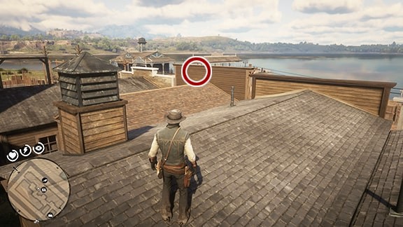Map4の肉屋近くの屋根の上。建物裏側から屋根画像