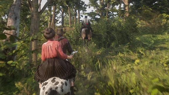 馬でアンソニーを追っているシーン