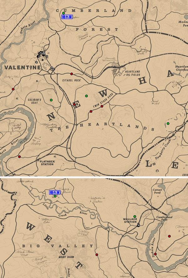 コルムのギャングの出現場所マップ