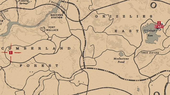 次の目的地の場所のマップ