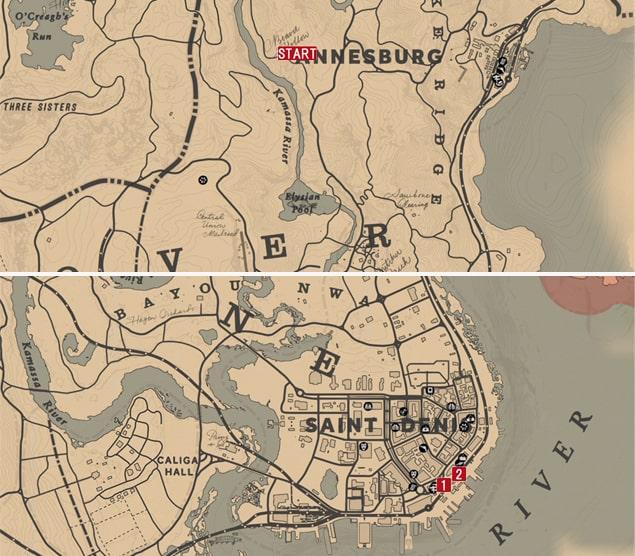 レッドデッドリデンプション2の全盛期の俺達のミッションの攻略マップ