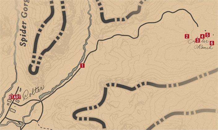 レッドデッドリデンプション2の西部の無法者のミッションの攻略マップ
