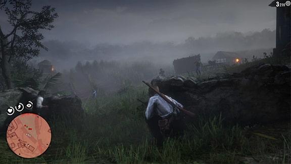 サトウキビ畑で敵を食い止めるシーン