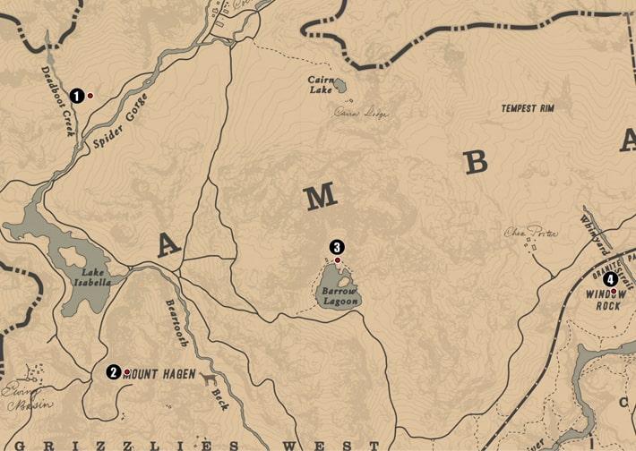 アンバリーノ州・グリズリー西部~中央の注目ポイントの場所のマップ