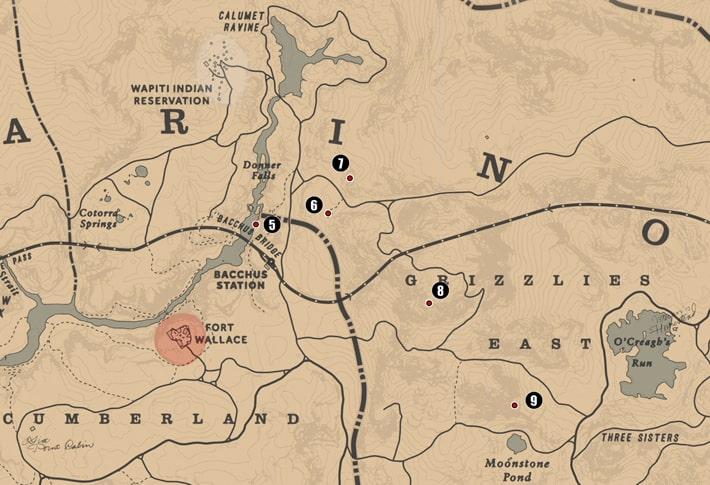 アンバリーノ州・グリズリー東部の注目ポイントの場所のマップ