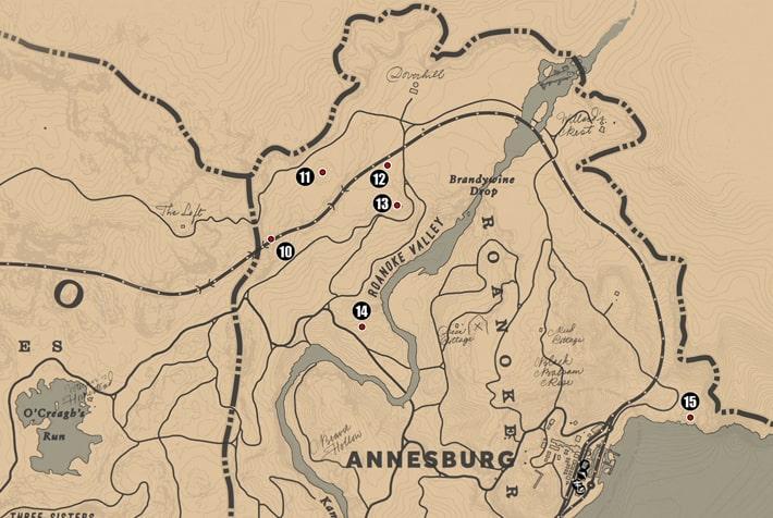 アンバリーノ州・ロアノークリッジ北部の注目ポイントの場所のマップ
