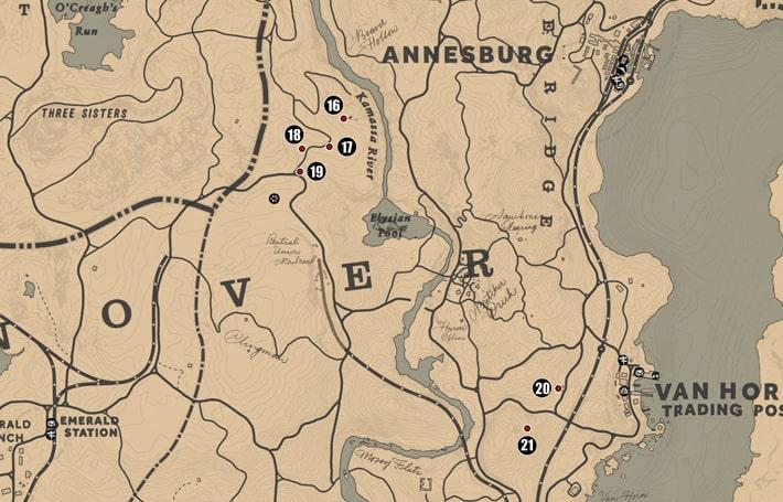 アンバリーノ州・ロアノークリッジ南部の注目ポイントの場所のマップ