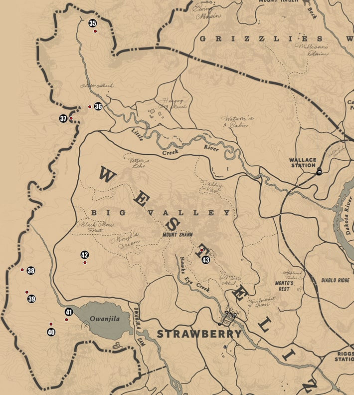 アンバリーノ西部周辺の注目ポイントの場所のマップ