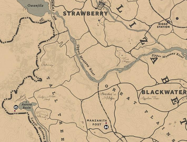 ウェストエリザベス州・トールツリーズの注目ポイントの場所のマップ