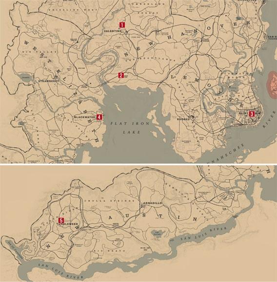 ポーカーをプレイできる場所のマップ