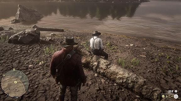 ミッションを開始できるレニーがいるクレメンスポイントのキャンプ場水辺