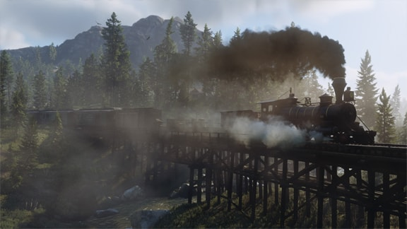 Red Dead Redemption2の列車が橋を通る画像