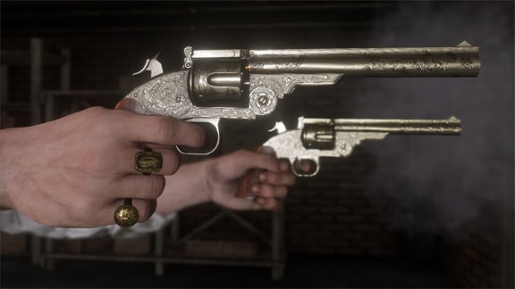 二丁拳銃を向けている画像