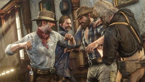 Red Dead Redemption 2のビル・ウィリアムソンが殴られているシーン
