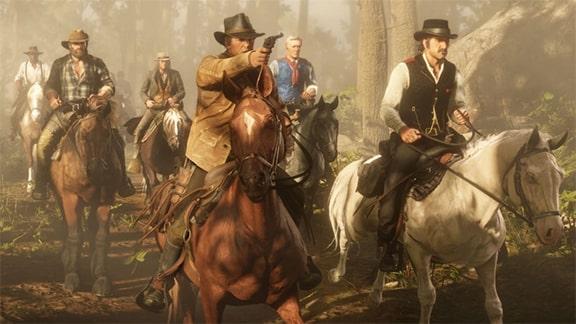 ダッチギャングたちが馬で移動しているシーン