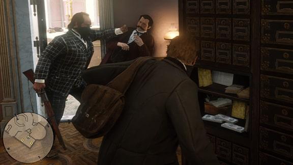 レッドデッドリデンプション2の室内強盗のシーン