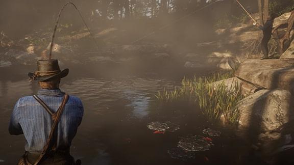 レッドデッドリデンプション2で釣りをしている画像