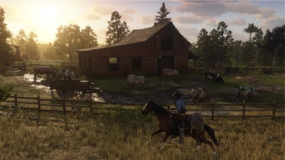 RDR2の乗馬と牧場風景の画像