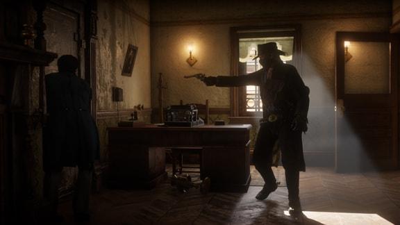 室内で銃を向けているカットシーン