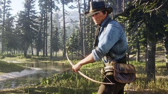アーサーが弓矢を装備してハンティングをしている画像
