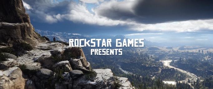 Red Dead Redemption2のセカンドトレーラーの風景とロックスター・ゲームスのロゴ画像