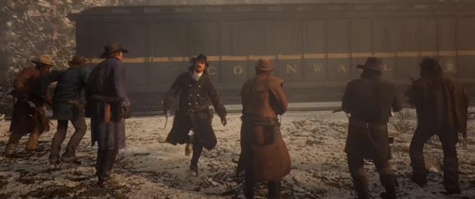 ダッチギャング達が列車前に集まっている画像
