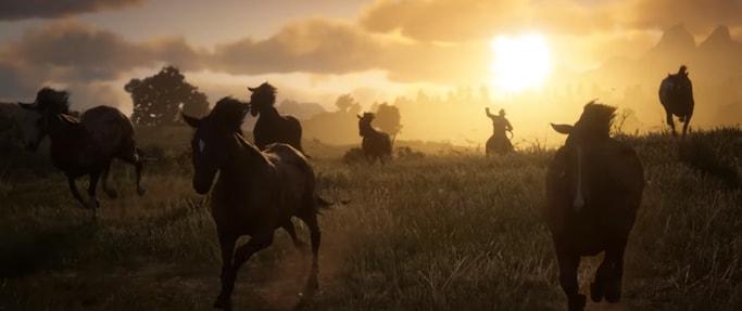 投げ縄で馬を捕獲しようとしている様子