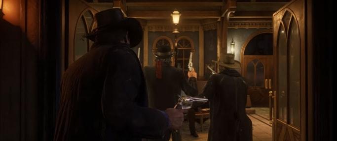 RDR2の仲間との強盗ミッションのシーン画像