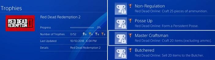 リークされたRed Dead Redemption 2のトロフィー画像