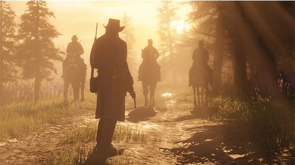 Red Dead Redemption2の太陽光を浴びる主人公たちのギャング画像