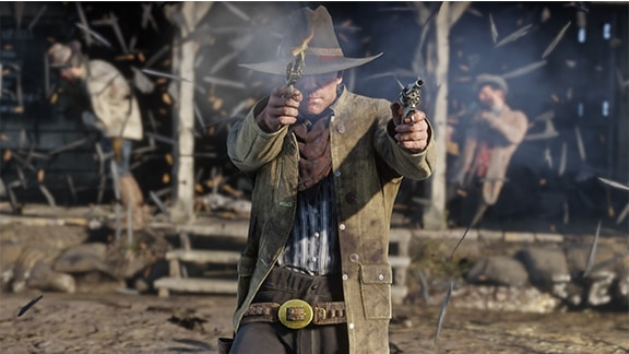 二丁拳銃で交戦しているスクリーンショット