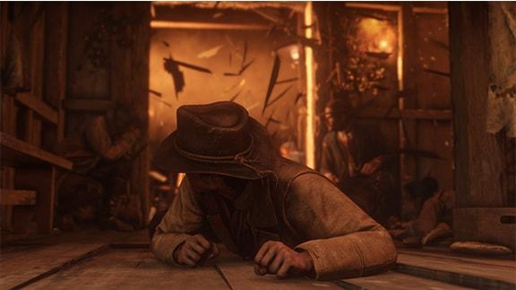 レッドデッドリデンプション2で室内で身を潜めている画像