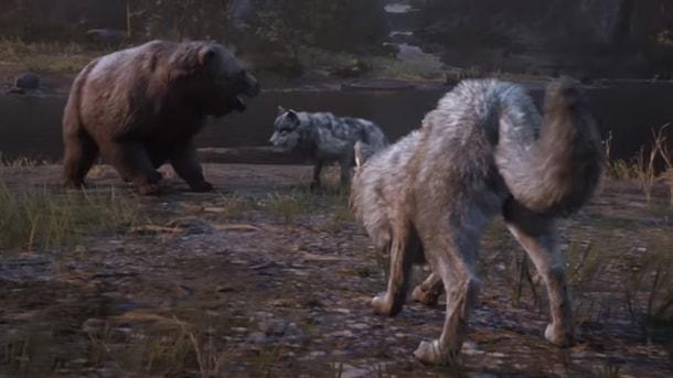 レッドデッドリデンプション2で熊と狼が戦っている画像