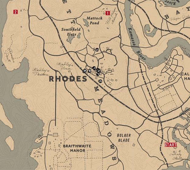 レッドデッドリデンプション2の家畜泥棒 - おじさんのミッションの攻略マップ