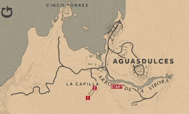 レッドデッドリデンプション2の解き放たれた獣性のミッションの攻略マップ