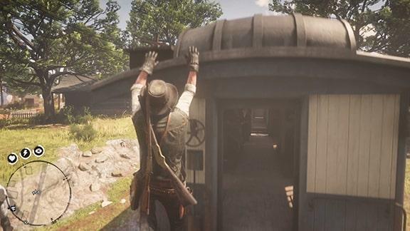 列車の屋根に飛び乗るシーン
