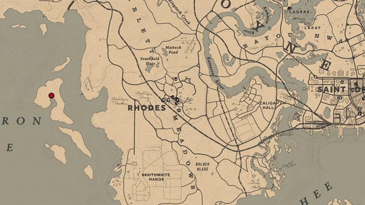 難破船の場所のマップ