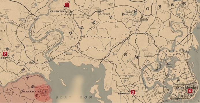 店強盗の場所を示すマップ