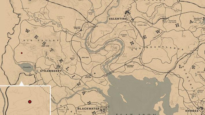 レッドデッドリデンプション2での石斧の入手方法のマップ