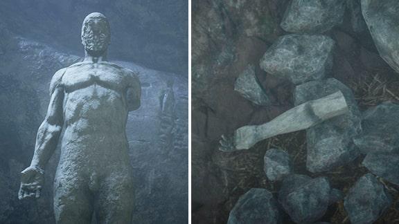 片腕の無い男性像の彫像