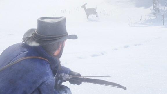 鹿を弓で射るシーン