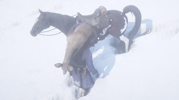狩った鹿を運ぶアーサーの画像