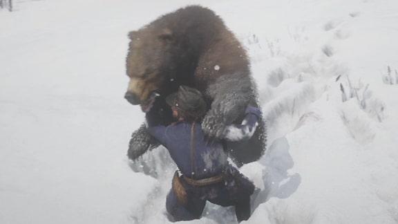 熊に攻撃を受けているアーサー